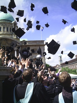 2008-01-08 David Michael Morris via Flikr Mortar Board The Hat Toss 250px wide