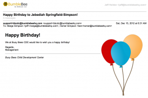 send automatic birthday emails to parents to recognize their children